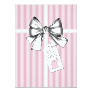 Sweet Pink Stripe Pink Elephant Baby Shower 17 Cm X 22 Cm Invitation Card