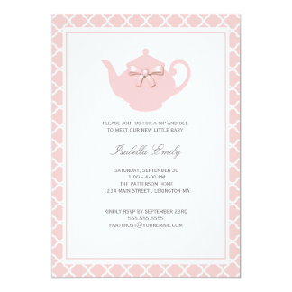 Sweet Pink Teapot Baby Sip and See Tea Party Card