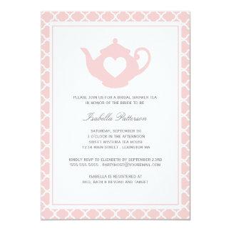 Sweet Pink Teapot Bridal Shower Tea Party 13 Cm X 18 Cm Invitation Card