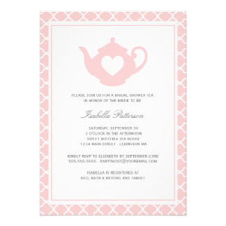 Sweet Pink Teapot Bridal Shower Tea Party Personalized Invitation