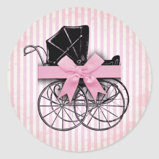 Sweet Pink Vintage Baby Carriage Pram and Bow Round Sticker