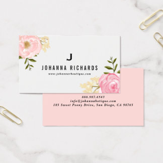 Sweet Pink Watercolor Peonies Floral Monogram Business Card