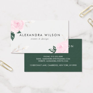 Sweet Pink Watercolor Roses Business Card