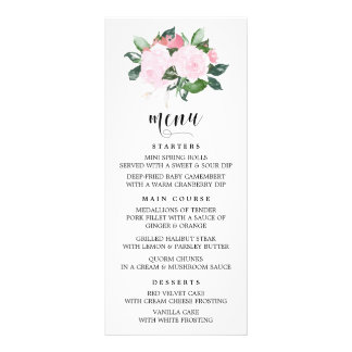 Sweet Pink Watercolor Roses Menu Card