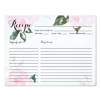 Sweet Pink Watercolor Roses Recipe Card