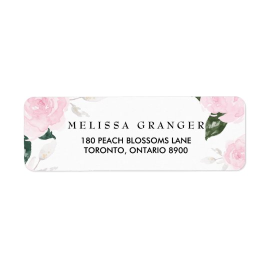 Sweet Pink Watercolor Roses Return Address Label