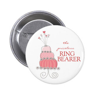 Sweet Pink Wedding Cake Name Tag / Gift Button