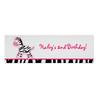 Sweet Pink Zebra Baby Shower Banner Sign Poster