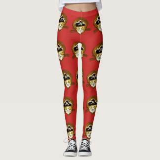 sweet pirate cat gold cartoon leggings