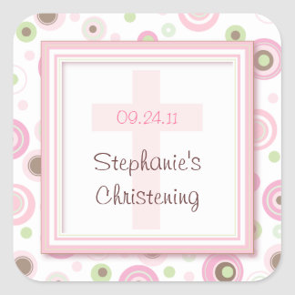 Sweet Polka Dot Cross Christening Baptism Sticker