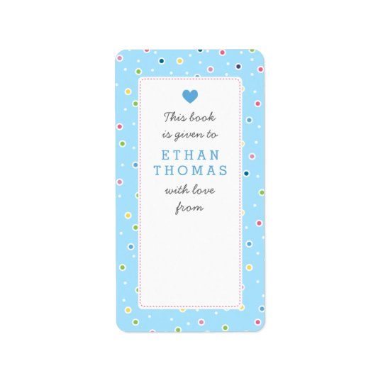 Sweet Polkadot Bubble Book Gift Bookplate Label