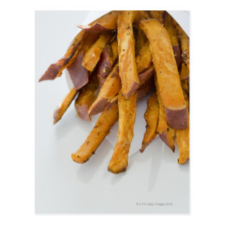 Sweet Potato fries in paper bag, close up, Postcard