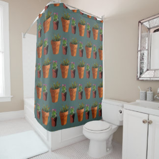 Sweet Potted Geometric Succelents Print Shower Curtain