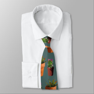 Sweet Potted Geometric Succelents Print Tie