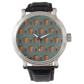 Sweet Potted Geometric Succelents Print Watch