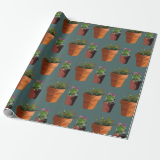Sweet Potted Geometric Succelents Print Wrapping Paper