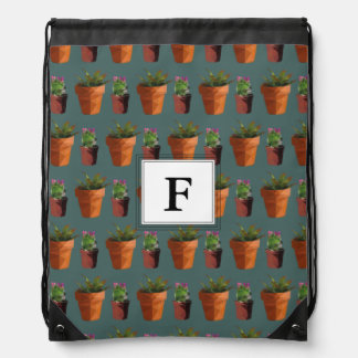 Sweet Potted Succulent Print Customisable Drawstring Bag