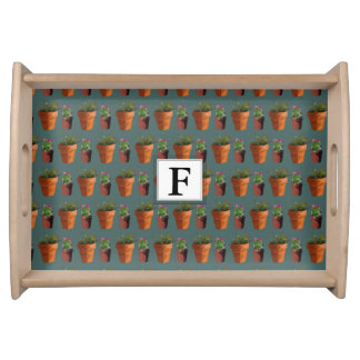 Sweet Potted Succulent Print Customisable Serving Tray