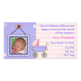 Sweet Pram Girl Birth Announcement Photo Card