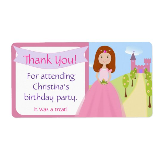Sweet Princess Party Favour Label