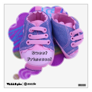Sweet Princess! wall decals Pink Baby Shoes custom