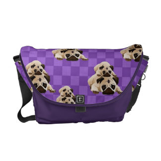 Sweet Pug Pals on Bright  Purple Squares Commuter Bags