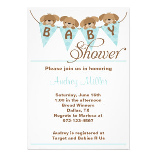 Sweet puppy baby shower Invitations Invitations