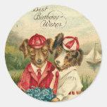 Sweet Pups Best Birthday Wishes Round Sticker