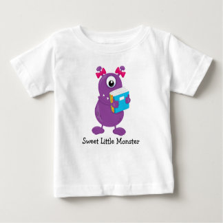 Sweet Purple One Eyed Monster Carrying Books Baby T-Shirt