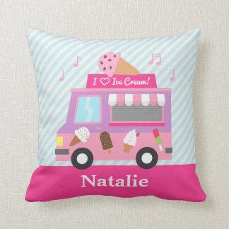 Sweet Purple Pink Ice Cream Truck Girls Room Throw Pillow