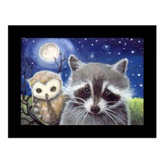 Sweet Racoon and Owl Art Postcard