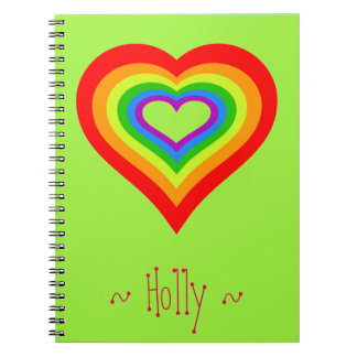 Sweet Rainbow Heart Graphic Design Personalized Notebooks
