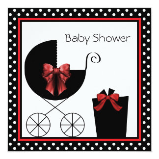 "Sweet Red and Black Baby Shower 5.25"" Square Invitation Card"