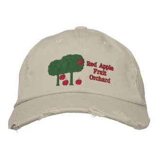 Sweet Red Apples and Apple Tree Fruit Orchard Farm Embroidered Hat