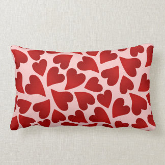 Sweet red hearts on pink Valentine's day decor Lumbar Cushion