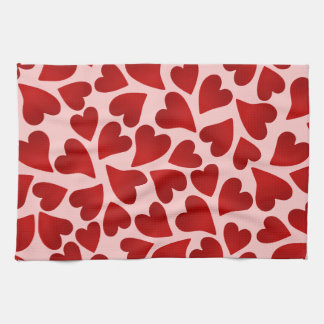Sweet red hearts on pink Valentine's day decor Hand Towels