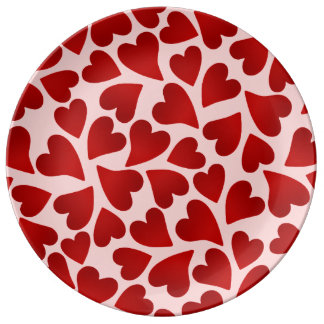 Sweet red hearts on pink Valentines day Plate