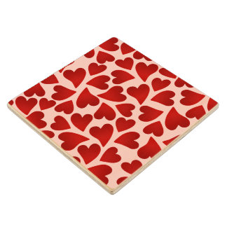 Sweet red hearts on pink Valentine's day Maple Wood Coaster