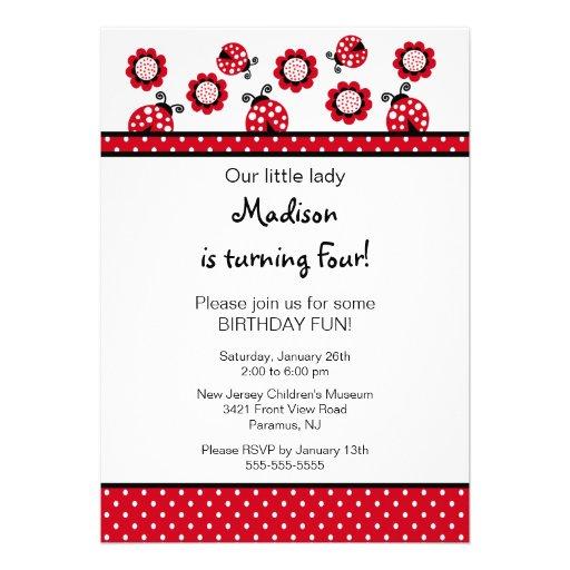 Sweet Red Ladybugs Birthday Invitation