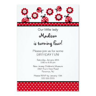 "Sweet Red Ladybugs Birthday Invitation 5"" X 7"" Invitation Card"