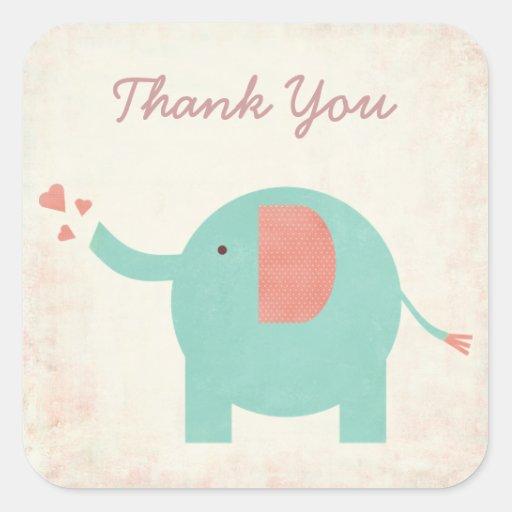 Sweet Retro Unisex Elephant Thank You Sticker