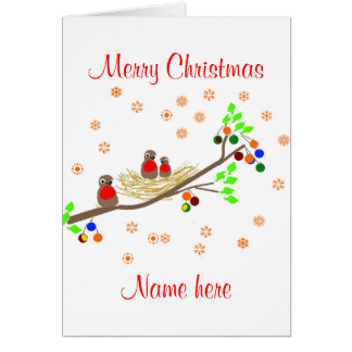 Sweet Robin family Christmas, add names Card