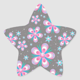 Sweet Romantic  Abstract Pink Flowers Pattern Star Sticker