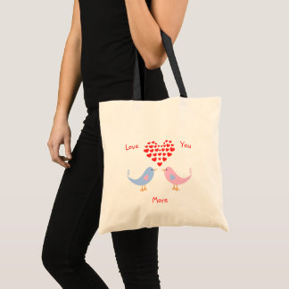 Sweet romantic lovebirds with hearts tote bag