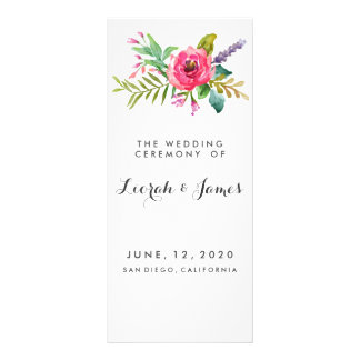Sweet romantic watercolor flowers custom rack card
