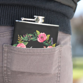 Sweet romantic watercolor flowers flasks