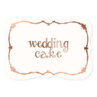 Sweet Rose Gold-Effect Wedding Cake Table Sign 13 Cm X 18 Cm Invitation Card