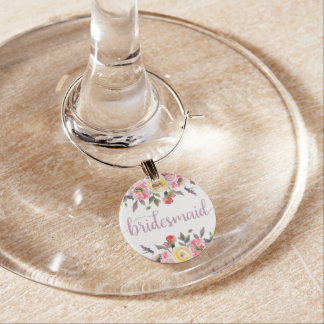 Sweet Rose Watercolor Floral Bridesmaid Wine Glass Wine Charm