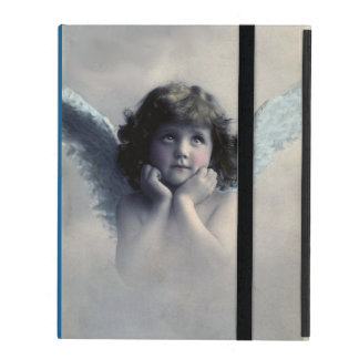 Sweet Rosy Cheeked Vintage Angel in the  Clouds iPad Cases