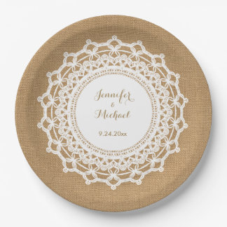 Sweet Rustic Burlap Look and White Lace Wedding 9 Inch Paper Plate